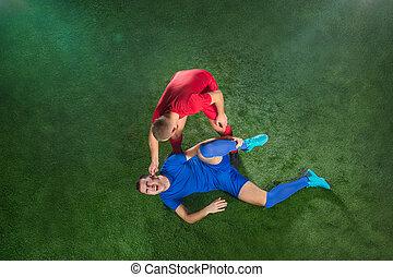 campo, futbol, lesión, pierna, futbolista, sufrimiento,...