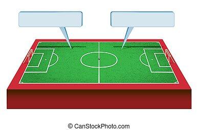 campo, futbol, perspectic, vista