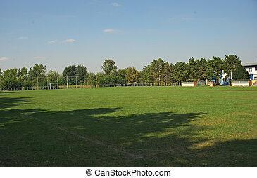campo futebol americano, equipe, pequeno, local, vazio
