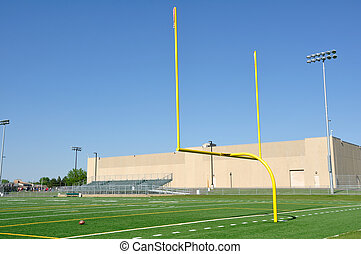 campo, futebol americano, postos, meta
