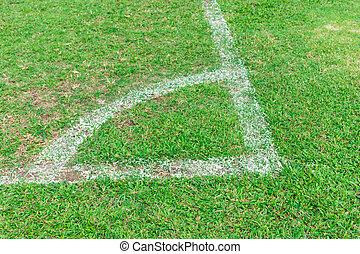 campo futebol americano, verde, canto, linha branca