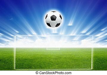 campo futebol, bola, luz