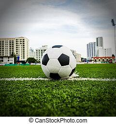 campo, futebol, capim, verde, bola