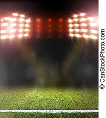 campo futebol, e, luminoso, holofotes