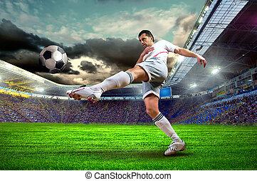 campo, futebol, estádio, jogador