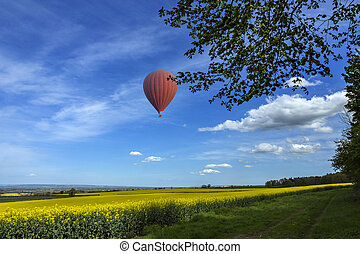 campo, globo, -, yorkshire, aire caliente