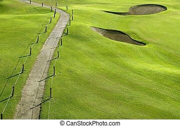 campo golfe, grama verde, colina, campo, com, buracos