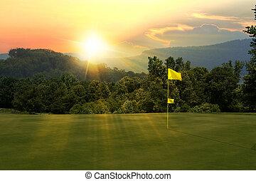 campo golfe, pôr do sol
