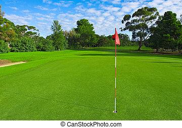 campo, golfe verde, paisagem