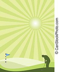 campo, golfista, silueta