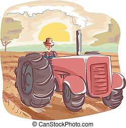 campo, homem, trator, agricultor