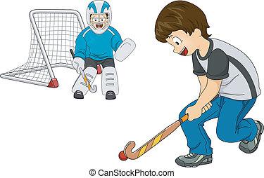 campo, interior, hockey, niños