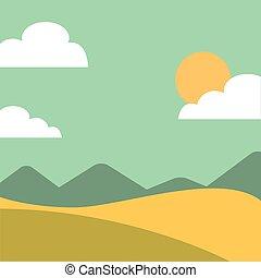 campo, isolato, paesaggio, icona