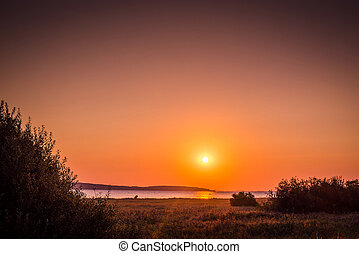 campo, lago, con, un, salida del sol