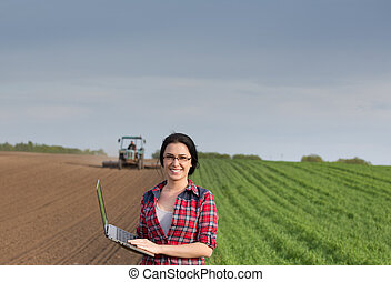 campo, laptop, menina, trator, agricultor