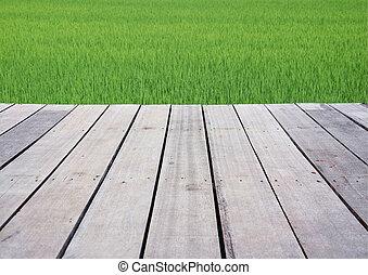 campo, legno, terrazzo, riso