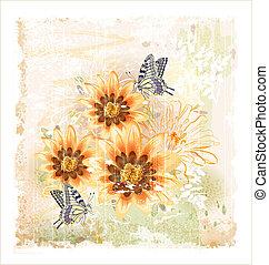 campo, mariposas, flores, amarillo