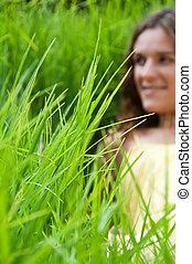 campo, menina, capim, verde, longo