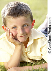 campo, menino, jovem, retrato