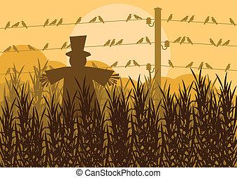 campo, milho, ilustração, outono, campo, fundo, espantalho,...