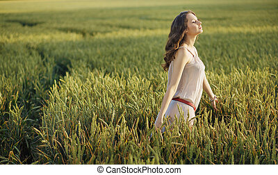 campo, milho, mulher, relaxado