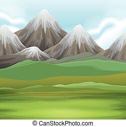campo, montagne, scena, natura