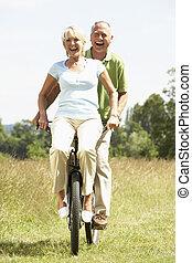 campo, montando, par, bicicleta, maduras