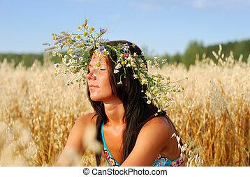 campo, mujer, trigo, joven