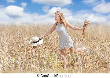 campo, mulher, trigo, jovem, feliz