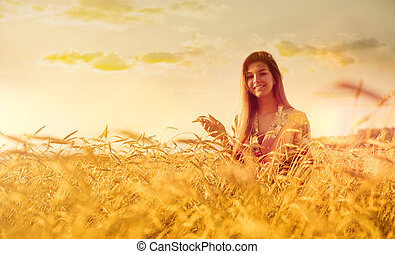 campo, mulher, trigo, pôr do sol