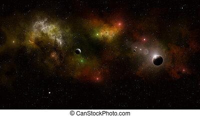 campo, multicolor, estrela, profundo, espaço