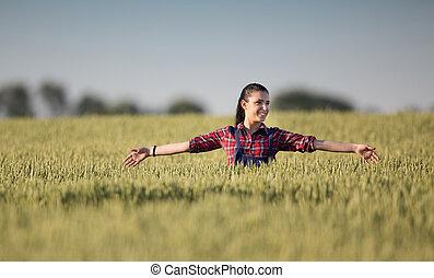 campo, niña, cebada, granjero