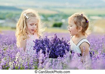 campo, niñas, dos, feliz