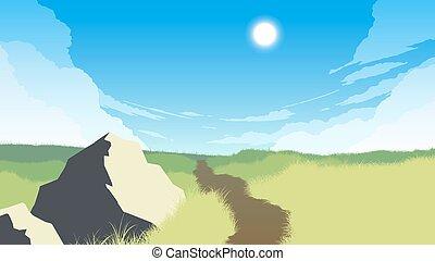 campo, paesaggio, illustrazione