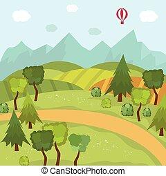 campo, paisagem, com, campos, árvores, montanhas