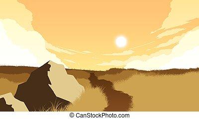 campo, paisagem, ilustração