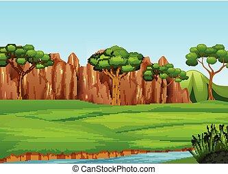 campo, paisagem rio, árvores, mani
