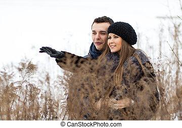 campo, par, feliz, inverno, jovem
