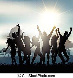 campo, partido, pessoas, dançar