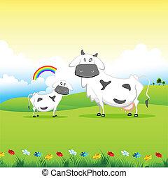campo, pasto, vaca