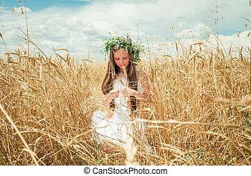campo, pequeno, trigo, menina
