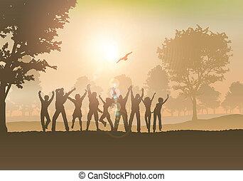 campo, pessoas, dançar