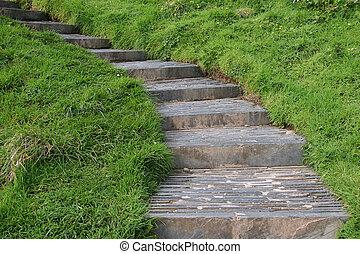 campo, piedra, escaleras