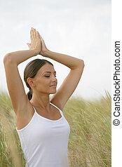 campo, prática, mulher, ioga