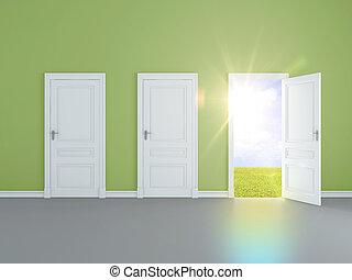 campo, puerta