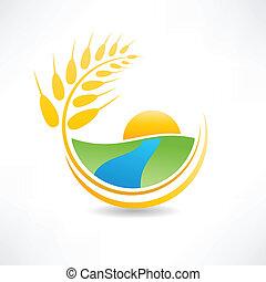 campo, río, trigo, icono