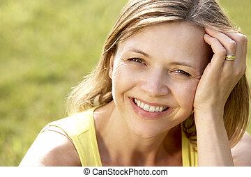 campo, retrato, mulher, jovem, relaxante