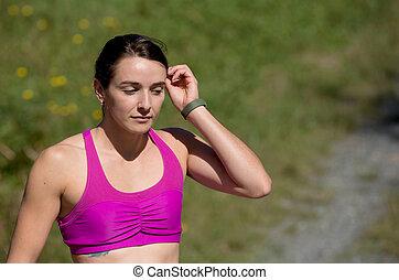campo, retrato, mulher, sporty, jovem