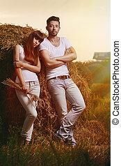 campo, retrato, pareja
