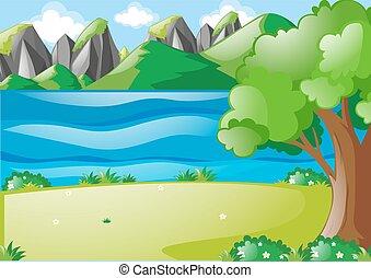 campo, rio, cena, natureza